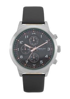 Kenneth Cole Men's Dress Sport Black Leather Watch, 47mm