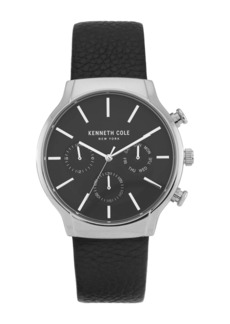 Kenneth Cole Men's Dress Sport Chronograph Leather Strap Watch, 42mm