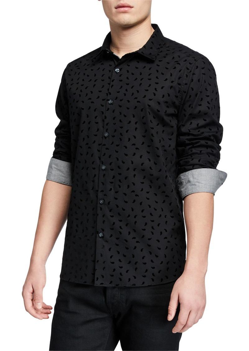 Kenneth Cole Men's Flocked Paisley Long-Sleeve Sport Shirt