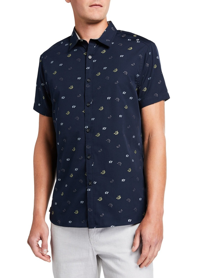 Kenneth Cole Men's Floral Clip-Print Short-Sleeve Shirt