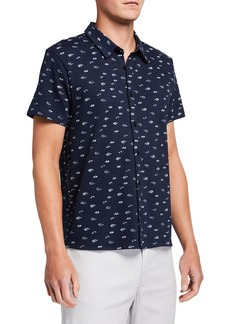Kenneth Cole Men's Flower-Print Short-Sleeve Button-Down Shirt