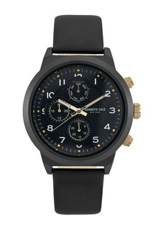 Kenneth Cole Men's Leather Strap Watch, 47mm