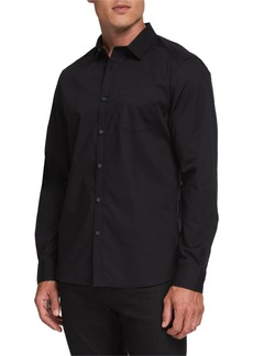 Kenneth Cole Men's Long-Sleeve One-Pocket Sport Shirt  Black