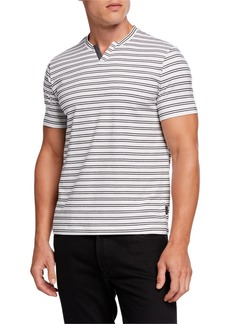 Kenneth Cole Men's Notched-Neck Striped Henley Shirt
