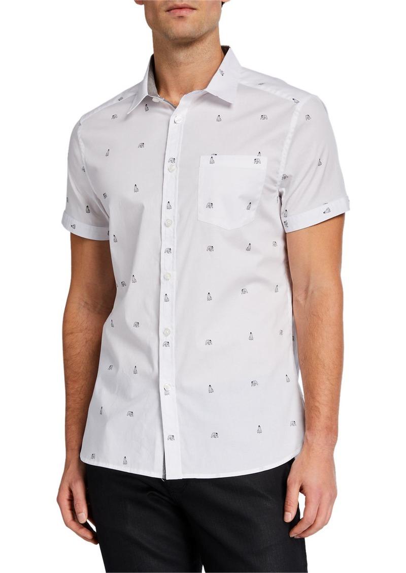 Kenneth Cole Men's Polar Bear Print Short-Sleeve Sport Shirt
