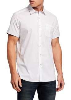 Kenneth Cole Men's Solid Contrast-Topstitch Sport Shirt