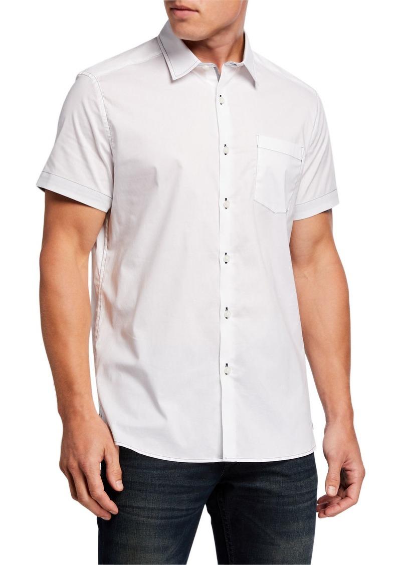 Kenneth Cole Men's Solid Contrast-Topstitch Sport Shirt