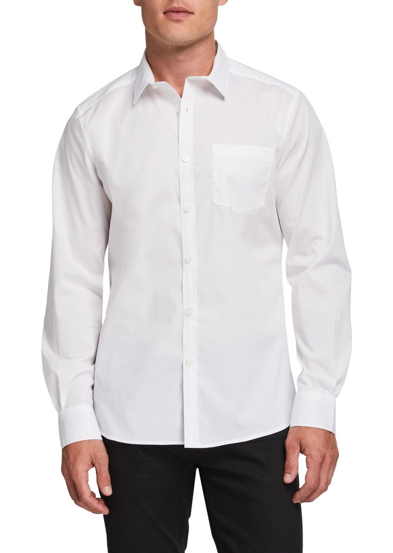 Kenneth Cole Men's Solid One Pocket Long-Sleeve Sport Shirt  White