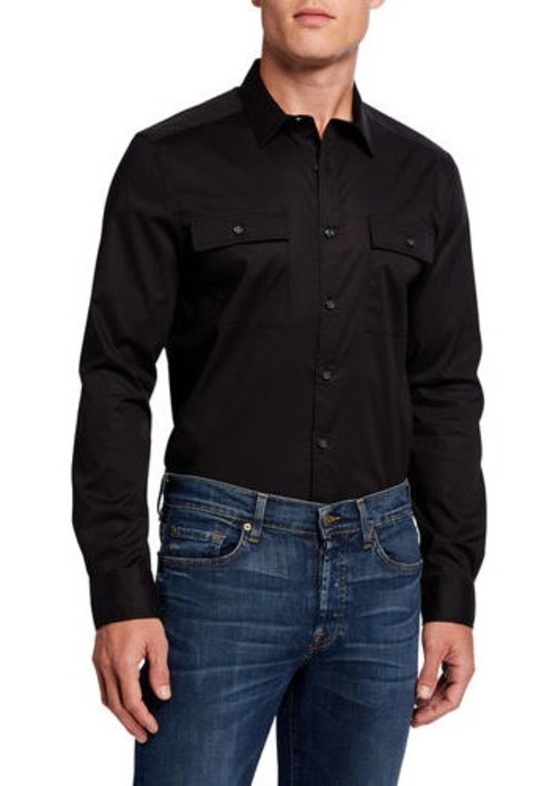 Kenneth Cole Men's Solid Two-Pocket Mobility Sport Shirt
