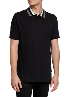 Kenneth Cole Men's Stripe Collar Polo Shirt