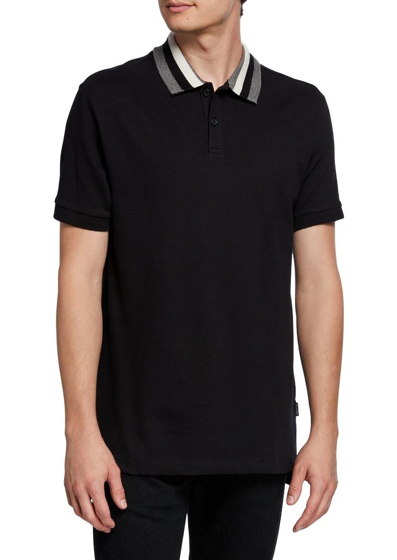 Kenneth Cole Men's Stripe Collar Polo Shirt