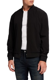 Kenneth Cole Men's Technical-Mesh Solid Bomber Jacket