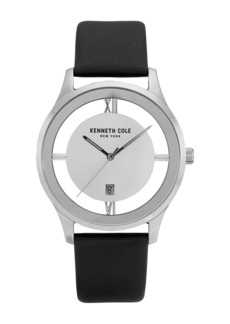 Kenneth Cole Men's Transparency 3-Hand Leather Strap Watch, 44mm
