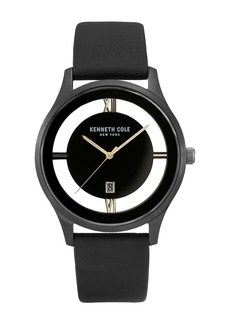 Kenneth Cole Men's Transparent Dial Leather Strap Watch, 44mm