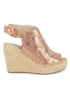 Kenneth Cole Metallic Floral Wedges