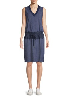 Kenneth Cole Mixed-Media Drawstring Waist Cotton Dress
