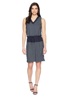 Kenneth Cole Mixed Media Drawstring Waist Dress