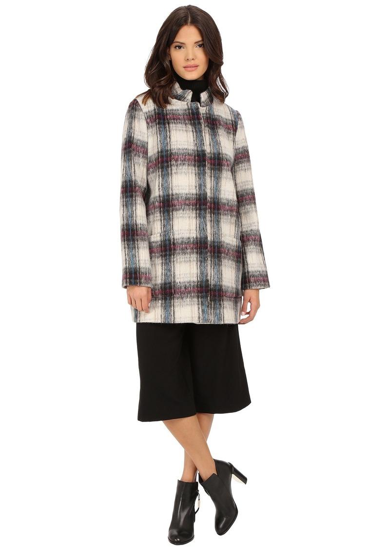 Kenneth Cole Novelty Plaid Wool Coat