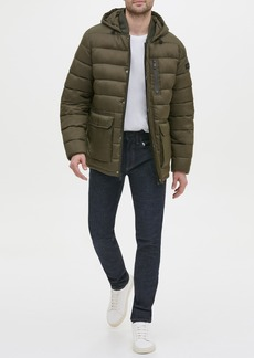 Kenneth Cole Oversized Patch Pocket Hooded Puffer Parka