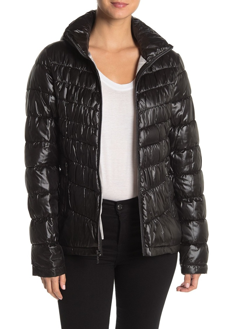 Kenneth Cole Packable Hooded Zip Front Puffer Jacket