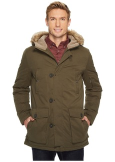 Kenneth Cole Poly Cotton Parka with Faux Sherpa Trim and Faux Fur Hood
