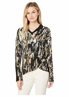 Kenneth Cole Printed Mixed Media Top