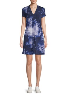 Kenneth Cole Printed V-Neck Dress