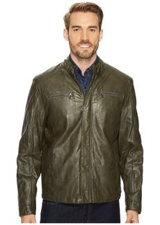 Kenneth Cole PU Jacket with Tab Collar Detail