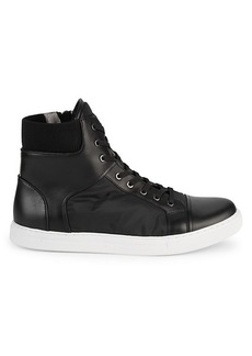 Kenneth Cole Ribbed Cuffs High-Top Sneakers