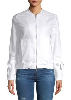 Kenneth Cole Ribbon-Sleeve Bomber Jacket