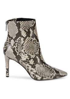 Kenneth Cole Riley Simple Snake-Print Leather Booties