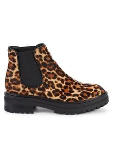 Kenneth Cole Ronnie Leopard Calf Hair Chelsea Boots