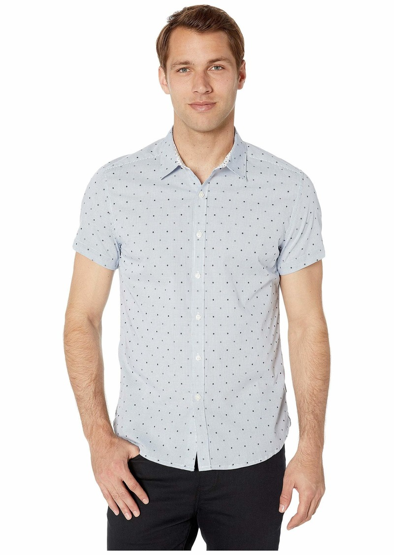 Kenneth Cole Short Sleeve Check w/ Clip Dobby Shirt