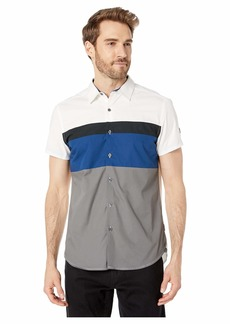 Kenneth Cole Short Sleeve Color Block Logo Shirt