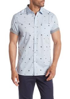 Kenneth Cole Short Sleeve Flip Flop Print Woven Shirt