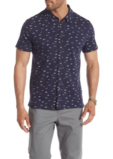 Kenneth Cole Short Sleeve Floral Print Polo