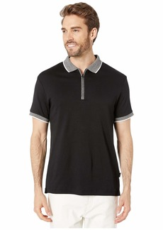 Kenneth Cole Short Sleeve Marbled Collar Interlock Zip Polo
