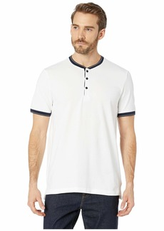 Kenneth Cole Short Sleeve Solid Baseball Neck Henley