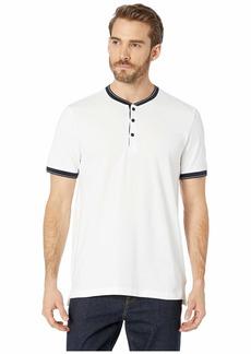 Kenneth Cole Short Sleeve Solid Baseball Neck Henley