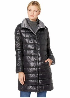 Kenneth Cole Snap Front Puffer with Contrast Lining