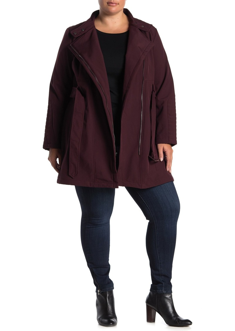 Kenneth Cole Soft Shell Asymmetrical Zip Belted Coat (Plus Size)