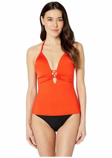 Kenneth Cole Solid Attitude Over The Shoulder Push-Up Tankini Top