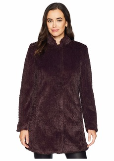 Kenneth Cole Stand Collar Faux Fur Woobie