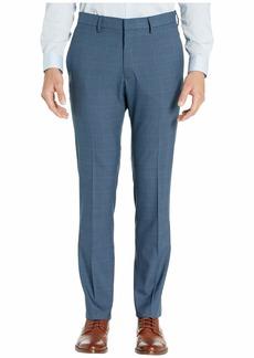 Kenneth Cole Stretch Sharkskin Plaid Slim Fit Flat Front Dress Pants