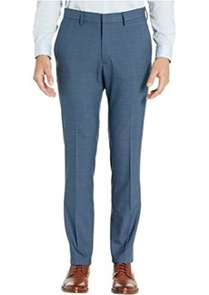 Kenneth Cole Stretch Sharkskin Plaid Slim Fit Flat Front Dress Pants
