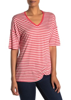 Kenneth Cole Striped V-Neck Ruched T-Shirt
