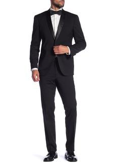 Kenneth Cole Black Solid Two Button Notch Lapel Techni-Cole Slim Fit Tuxedo
