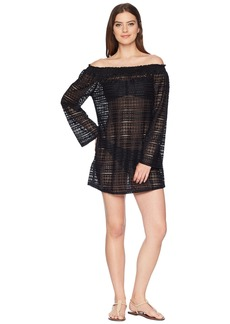 Kenneth Cole To The Beat Off the Shoulder Elastic Bell Sleeve Dress Cover-Up