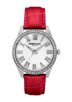 Kenneth Cole Women's Classic Red Leather Watch, 39.5mm