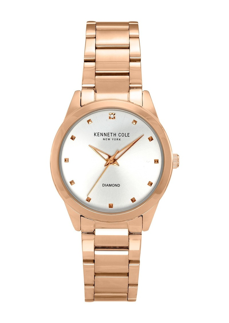 Kenneth Cole Women's Classic Diamond Detail Watch, 34mm, 0.9 ctw